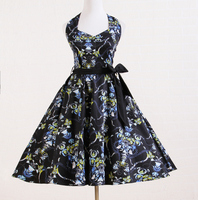 Kleider mit schärpen sleeveless schwarz blau floral cotton gypsy stil kleid für tanzparty brautkleider brautjungfer
