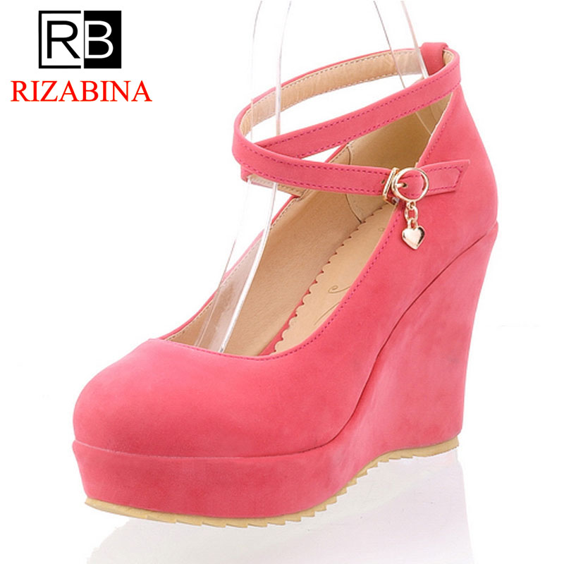 RizaBina free shipping high heel wedge shoes platform women sexy footwear fashion pumps P12654 EUR size 34-39 coolcept free shipping genuine leather quality high heel wedge sandals women fashion platform heels sandal r4222 eur size 34 39