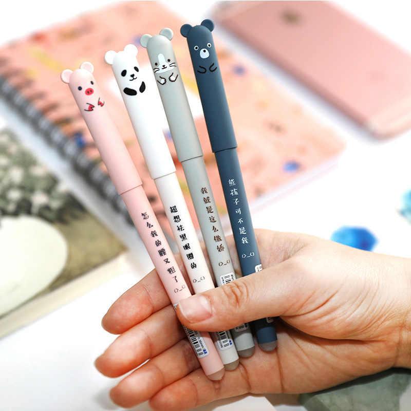 4 + 20 sztuk/zestaw śliczne wymazywalnej długopis Kawaii Cat Panda długopis 0.5mm ciemnoniebieski tusz Refill Rod na artykuły szkolne/biurowe