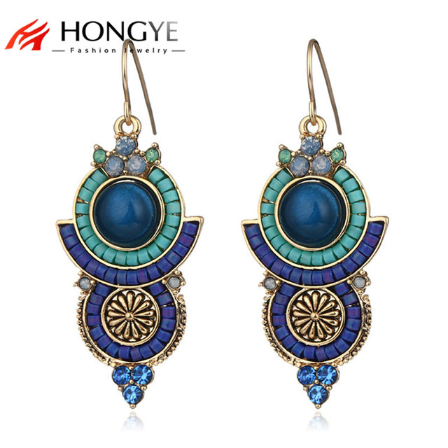 a93b071139fa7 US $4.86 37% OFF|Aliexpress.com : Buy HONGYE tan Ethnic 3 Color Brinco Red  Blue Black Crystal Rhinestone Resin Stone Vintage Carving Drop Earrings ...