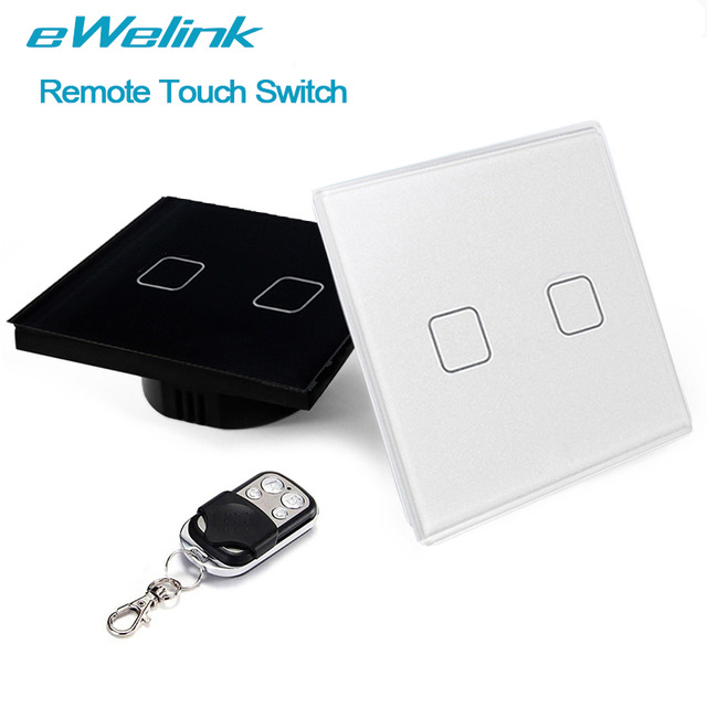 eWelink EU/UK Standard RF433 Remote Touch Wall Light Switch, 2 Gang 1 Way Wireless Remote Control Light Switches For Smart Home ewelink eu uk 1 gang 1 way wireless remote control light switches crystal glass panel touch switch rf433 remote wall switch