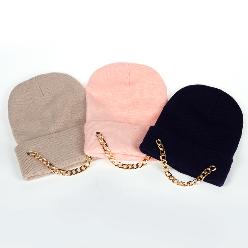 2017 Skullies Beanies Winter Hat For Women Iron chain Hip hop Knitting Warm Cap Warm Wool Hat Cap Leisure Fashion Winter Hats 2017 skullies