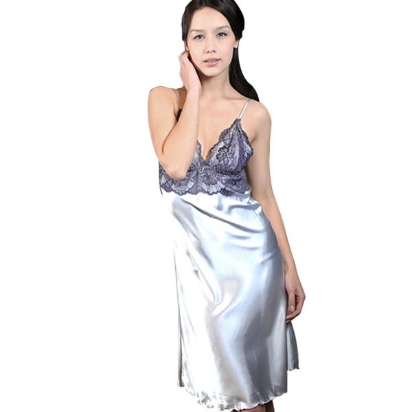 Дамы Имитационные Шелковый Брекеты Платье Кружева ... Пижамы Ночная Рубашка Ночная