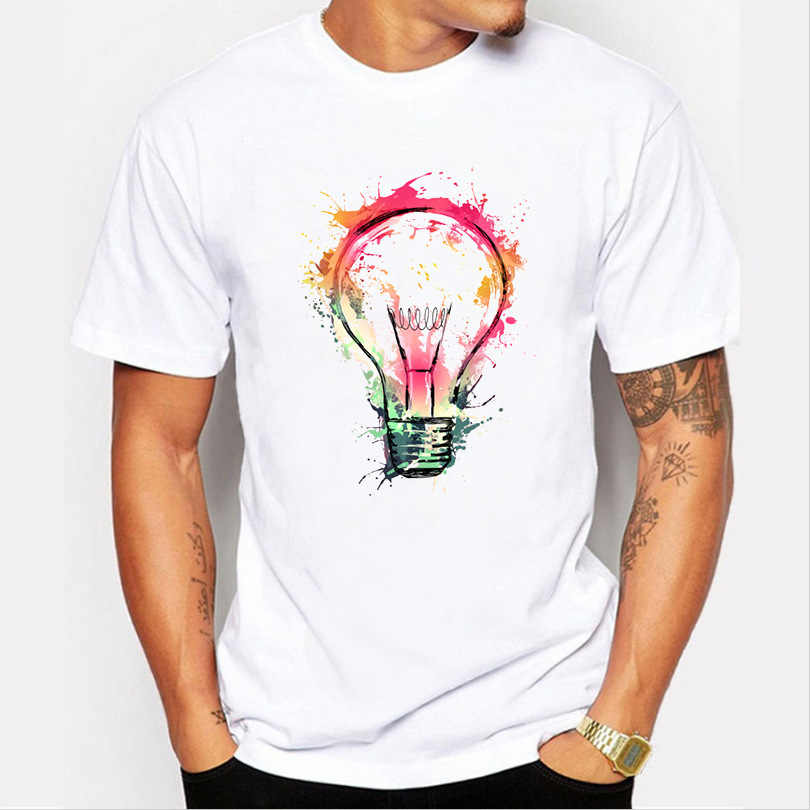 New Arrivals Men's Fashion Painted Colorful Bulb Design T Shirt Cool Summer Tops High Quality Casual Tee New Bulb Funny T-Shirt