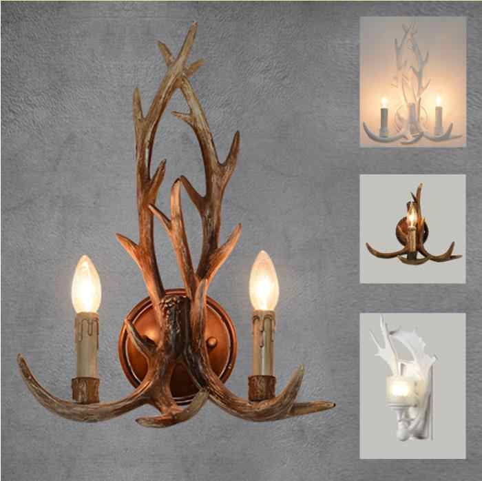 Wooden feeling resin decorative LED wall light lamp sconce deer horn antler retro white deer wall lamp light LED tree branch