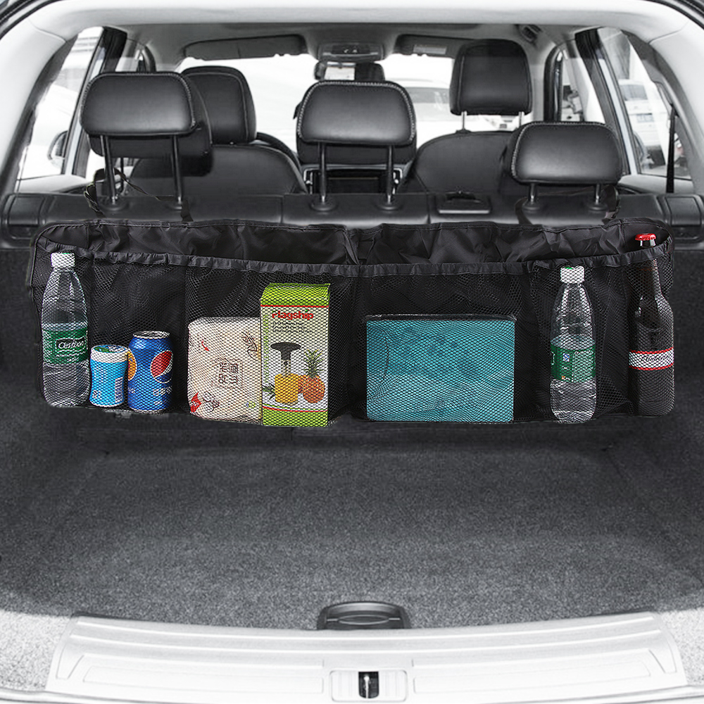 Car Trunk Back Seat Organizer Bag SUV Net Mesh Storage Stowing Tidying Floding Pockets Trash Automobile Bags In Cars Accessories(China)