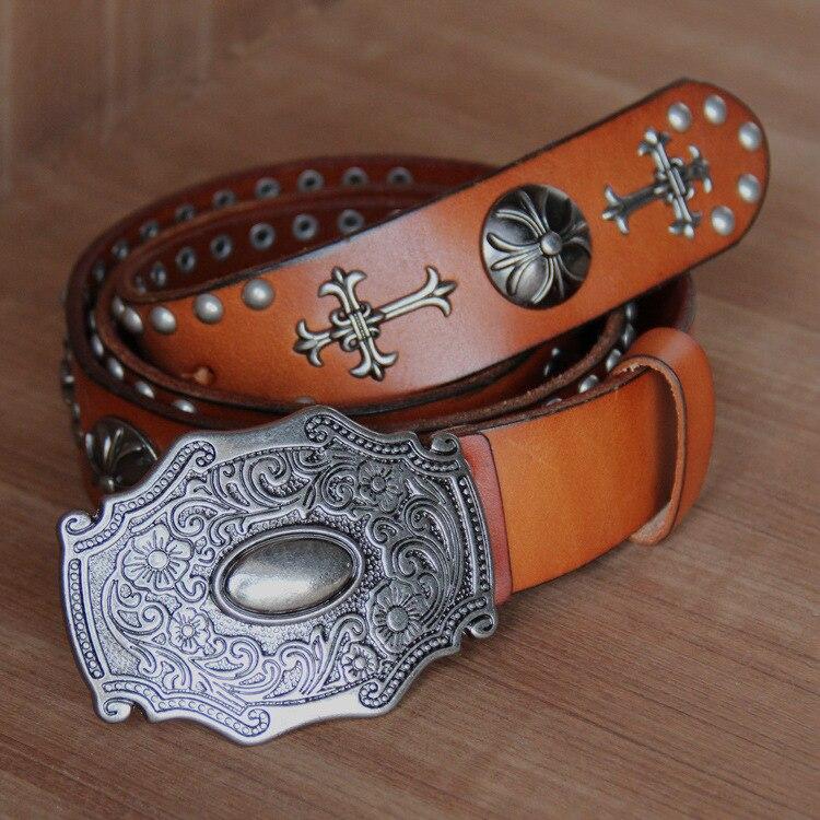 wholesale men steel punk young boy cross rivet top genuine cow leather belt