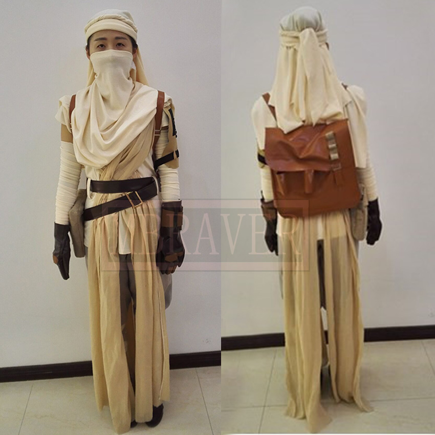 Star Wars 7:The Force Awakens Rey Uniform Moive Jedi Halloween Cosplay Costumes For Adult Women Custom Made Any Size Z1001