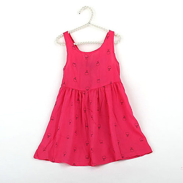87480860f462 Kid Hot Pink Dress Girls Printing Sleeveless One Piece Bowknot Tutu ...