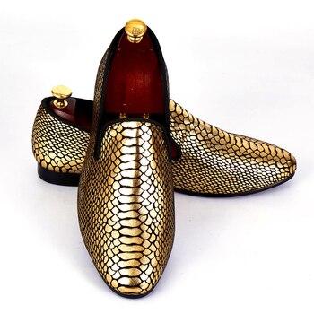 Harpelunde Erkekler Resmi Ayakkabı Altın Yılan Derisi Paisley Düğün Ayakkabı Moda Tasarımcısı Loafer'lar Boyutu 7-14