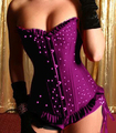 NEW Black Purple Blue RED Lace UP Sexy TOP Boned Satin Corset Bustier G String N24 QC