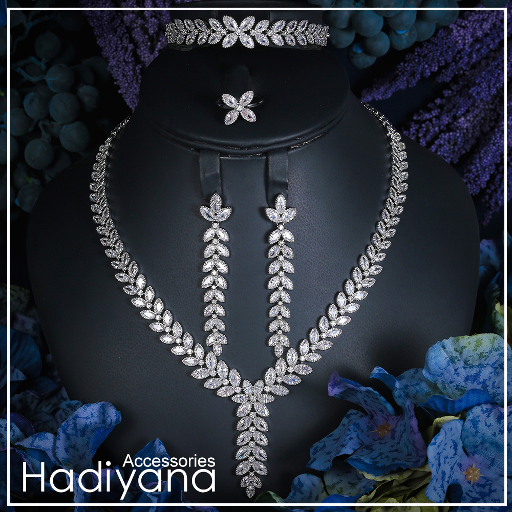 Hadiyana Luxury Bridal Wedding Jewelry Sets CZ Necklace Bracelet Earrings And Ring Women 4pc Jewelry Set