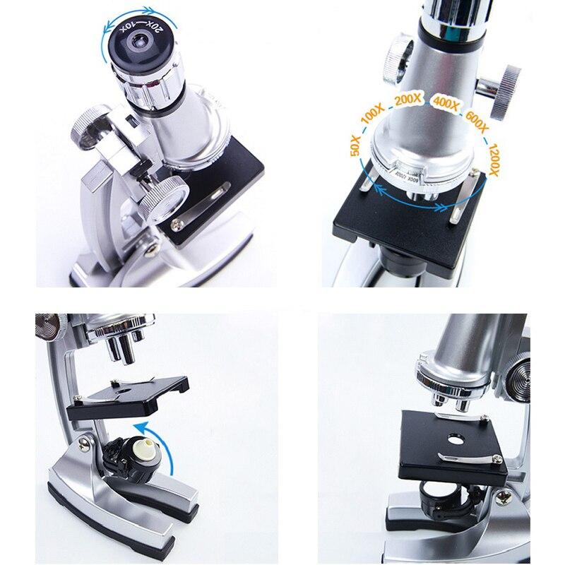 Подарочный микроскоп с подсветкой, увеличение 1200Х, монокулярный биологический микроскоп для новичков, учебный био-микроскоп для детей, сту...
