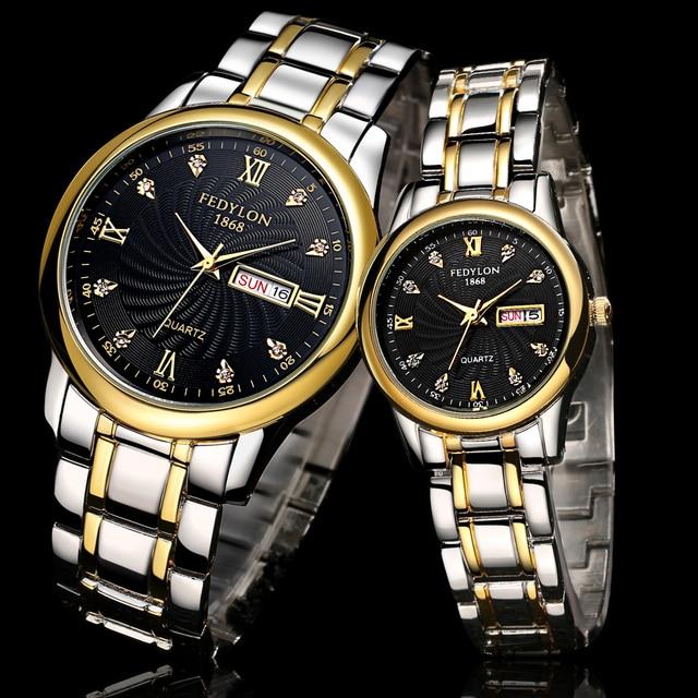 De primeras Marcas de Lujo Reloj de Oro Hombres Mujeres Pareja Enamorados Fecha de Cuarzo de Acero Inoxidable Resistente Al Agua Ocasional Reloj Montre Homme Mujer