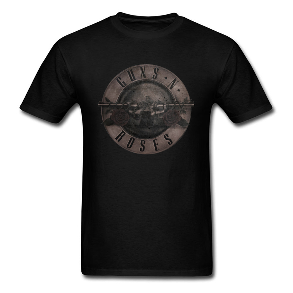 Punk T Shirt Guns N Roses T-shirt Men Black Tshirt Heavy Metal Tops 100% Cotton Clothes 3D Gun Rose Print Clothes Hip Hop