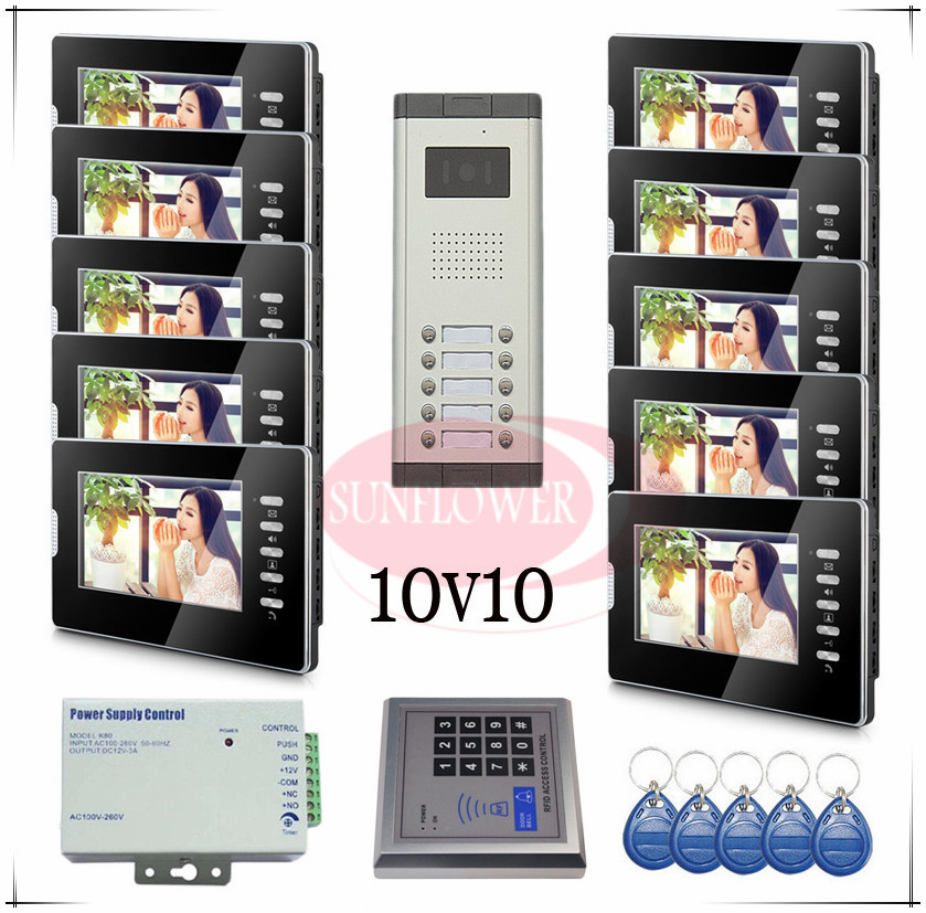 Brand new Wired 7 Video Door Phones Intercom Doorbell System 10 Monitor 10 buttons outdoor unit for 10 apartments Drop shipping 7 inch video doorbell tft lcd hd screen wired video doorphone for villa one monitor with one metal outdoor unit night vision