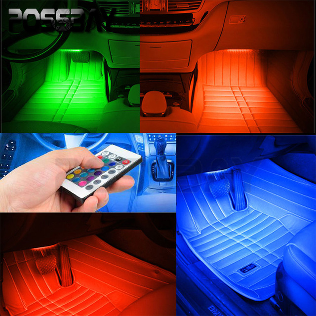 POSSBAY 4Pcs Car RGB LED Strip Light Car Decorative Atmosphere Lights Car Interior Lamp Wireless Remote/Voice/Music Footwell Bar