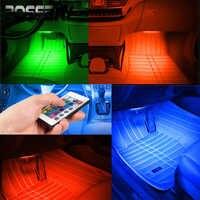 POSSBAY Auto Luci RGB HA CONDOTTO La Striscia Al Neon Lampada Decorativa Atmosfera Luci A Distanza Senza Fili/Musica/Voce di Controllo Interni Auto luce