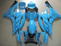 Injection mold fairing body kit For Yamaha R6 06 07 black flames blue bodywork fairings set YZF 2006 2007 YT24