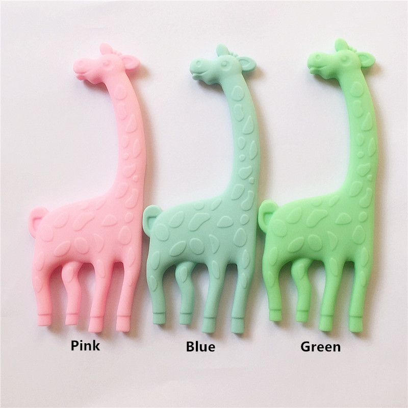 Chenkai 20PCS BPA Free Silicone Giraffe Teether Baby Pacifier Dummy Teething Pendant Nursing DIY Sensory Food Grade Animal Toy