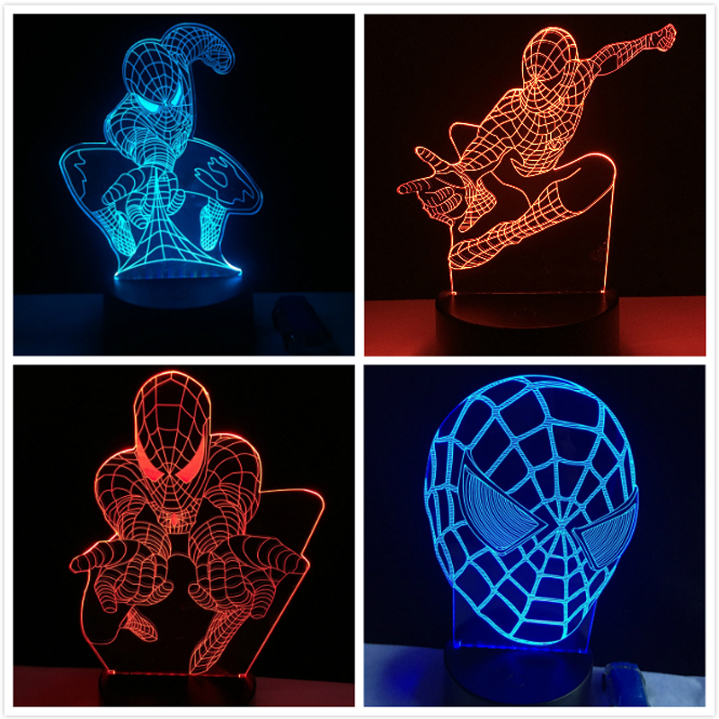 Hot Sale Superhero Man Figure Spider man 3D Lamp Multicolor Led Gradient Night Light Lampara Creative Festival Kid Birthday Gift big game console horizontal wall mount with multicolor led light for ps4 hot sale