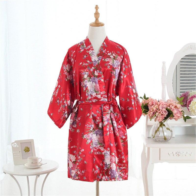 4c795417e4f2c 2019 New Sexy Brides Bridesmaid Wedding Robe Dress Plus Size Women Satin  Nightgown Print Kimono Bath Gown Sleepwear Pajamas 0702