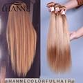 Pelo virginal brasileño recto 3 unids/lote honey blonde #27 color puro 7A brasileña 100% remy recta armadura del pelo humano paquetes
