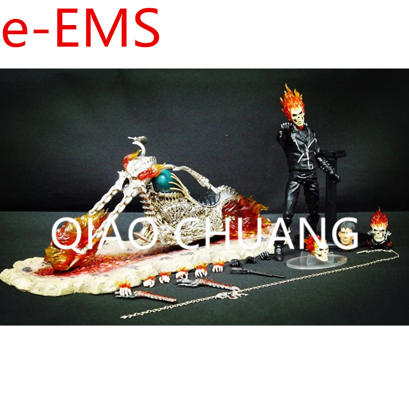 Agents of S.H.I.E.L.D Ghost Rider Jonathan Blaze Flame Motorcycle With LED Light PVC Action Figure Model Giocattolo G1458