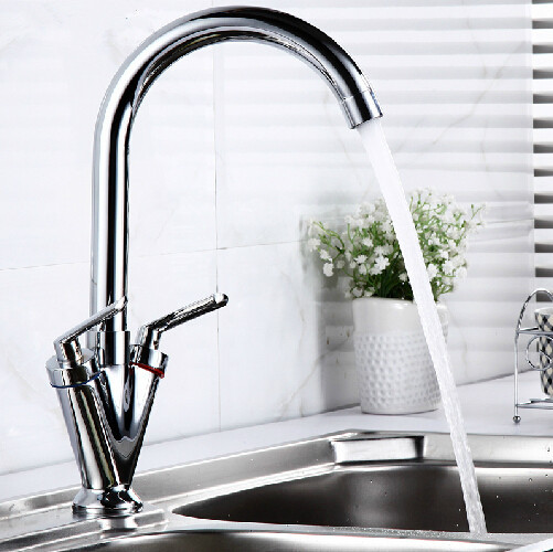 Double handle single hole kitchen sink tap hot and cold kitchen faucet rotary swivel kitchen mixer water tap new arrival tall bathroom sink faucet mixer cold and hot kitchen tap single hole water tap kitchen faucet torneira cozinha