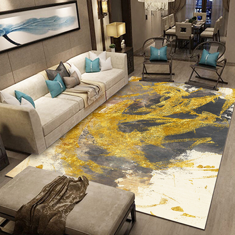 European Style Gold Color Living Room Carpet Ink Abstract