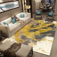European style gold color living room carpet Ink Abstract painting bedroom mat Crystal velvet floor non-slip rug custom made