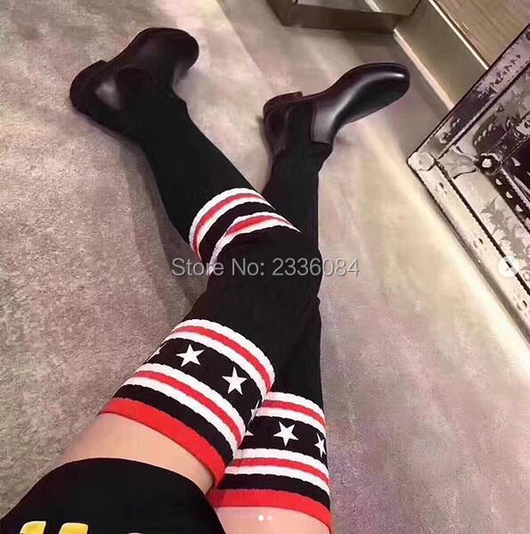 LTTL New Fashion Celebrity Style Tight High Boots Striped Over The Knee Sock Boots Leather Boots For Women Autumn Boots Stretchy