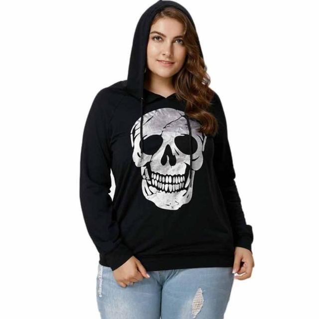 beautiful vogue Shirts Womens Skull Print Tops Sweatshirt Hooded Plus Size Tops Blouse TW Women Shirt