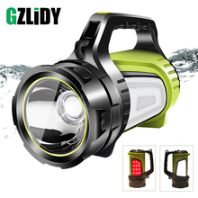 USB rechargeable LED flashlight 6 lighting mode with side light super bright searchlight for camping, outdoor search, etc.