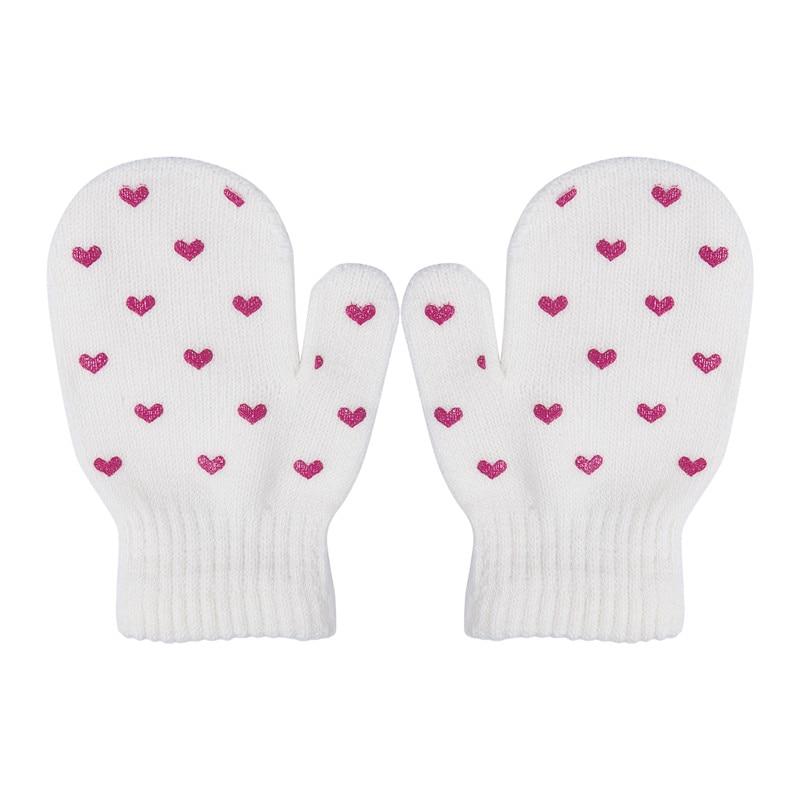 Kids Dot Star Heart Pattern Mittens Boys Girls Winter Soft Knitting