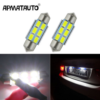 Apmatauto 2x Car Led Error Free 36mm C5W 5730 SMD Lamp 12V License Plate Lights For BMW E36 E39 E46 E90 E91 E92 E53 E60 E65 E71 image