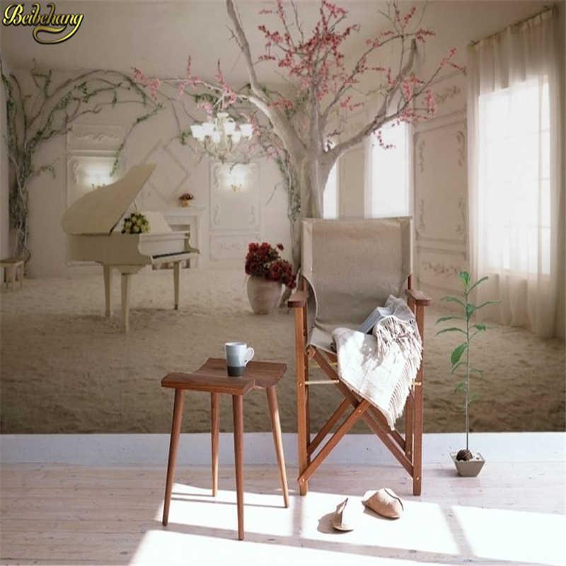 Papel de pared mural 3d personalizado beibehang TV telón de fondo sofá espacio para ampliar el papel pintado de la foto 3d para las paredes suelo 3 d de papel