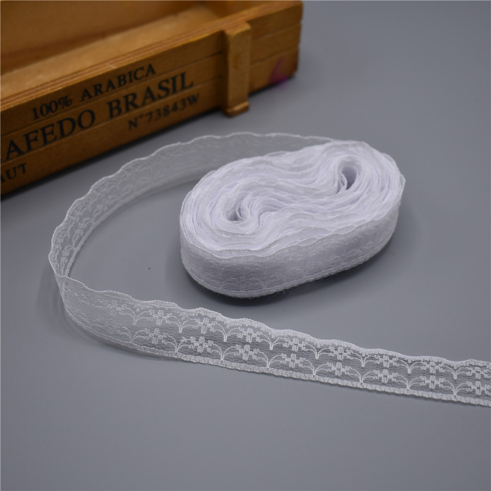 Wholesale 600yards Roll White Lace Ribbon Width 22mm Lace Trim Fabric Embroidered Sewing Decoration African Lace Fabric Applique in Lace from Home Garden