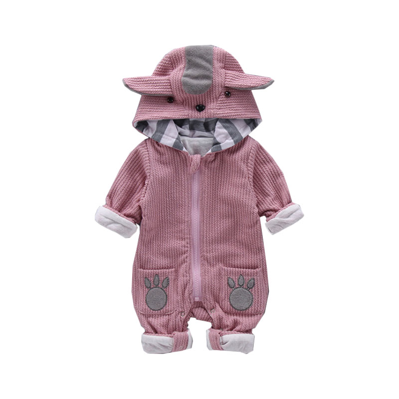 High Quality Newborn Boys Girls   Rompers   Infant Clothes Cute Animal Pattern Hooded One-pieces Warm Jumpsuits Bebes Baby Clothes