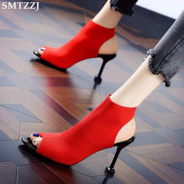SMTZZJ New 2019 Fashion Brand Design Red Black Knit Summer Sandals Women Pumps High heels Open Peep Toe Ladies Hollow Shoes
