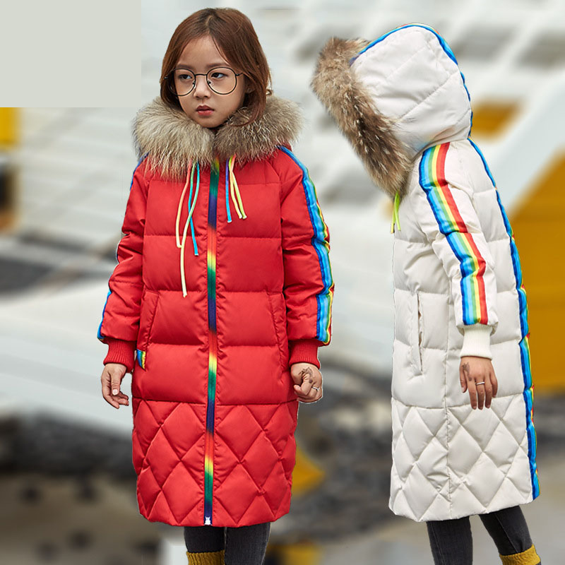 x-long fur hooded girls down coat children outwear coat kids clothes rainbow striped girls jackets and coats winter 2017 new girls parka coats 2016 girls faux fur coat winter coat medium long kids girls brand children jackets elegant childrens clothes