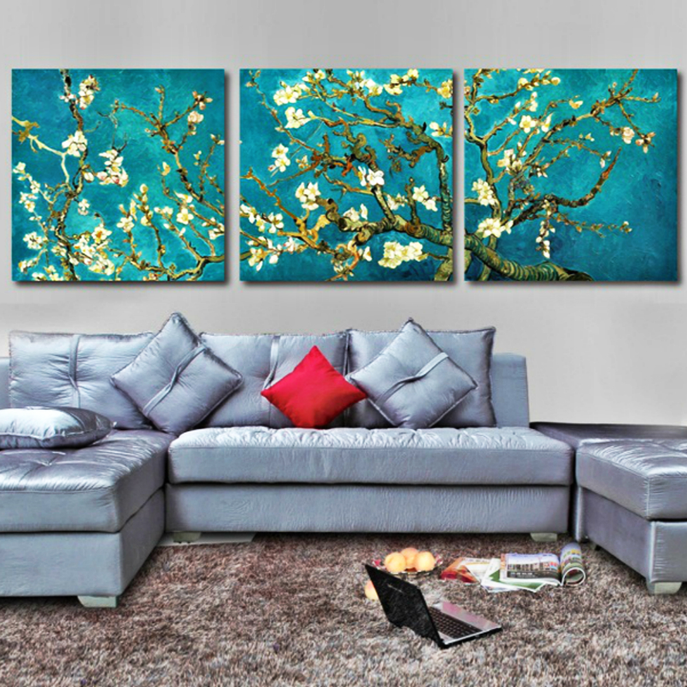 Print Painted Van Gogh Painting Canvas Wall Art Almond Flower Picture for Modern Home Wall Decor 3 Piece Abstract Still Life Art in Painting Calligraphy from Home Garden