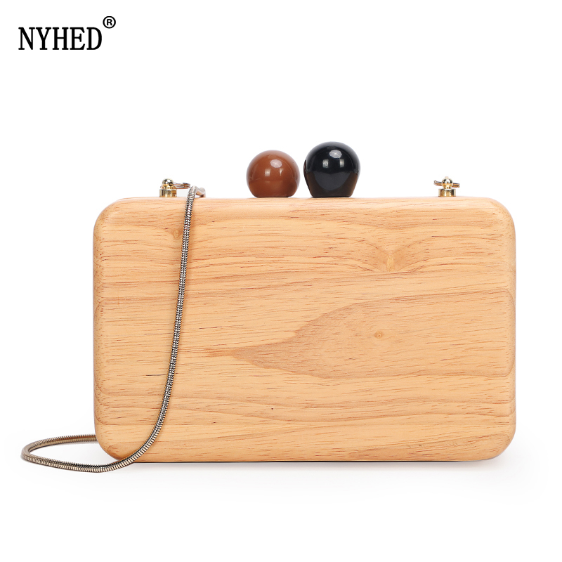 NYHED Women Clutches Bag Wood Evening Clutch Handbag Female Wedding Dinner Party Makeup Pouch Сумка