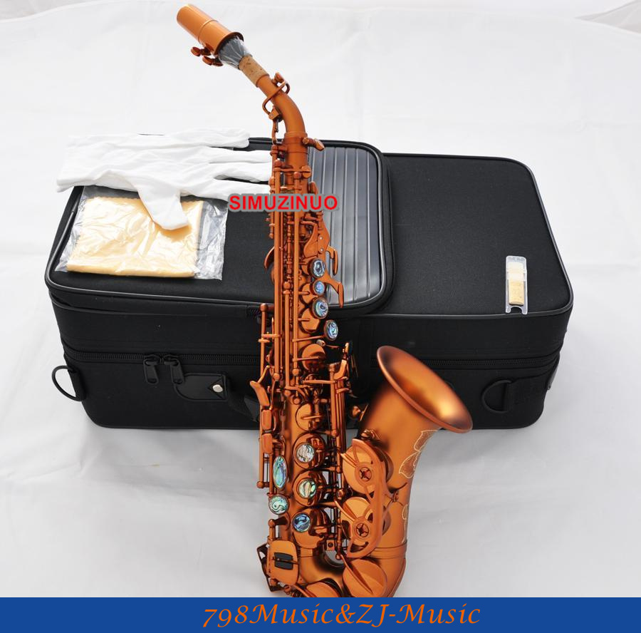 Matte Coffee Curved Soprano Saxophone Bb sax Abalone key Engraved bell New