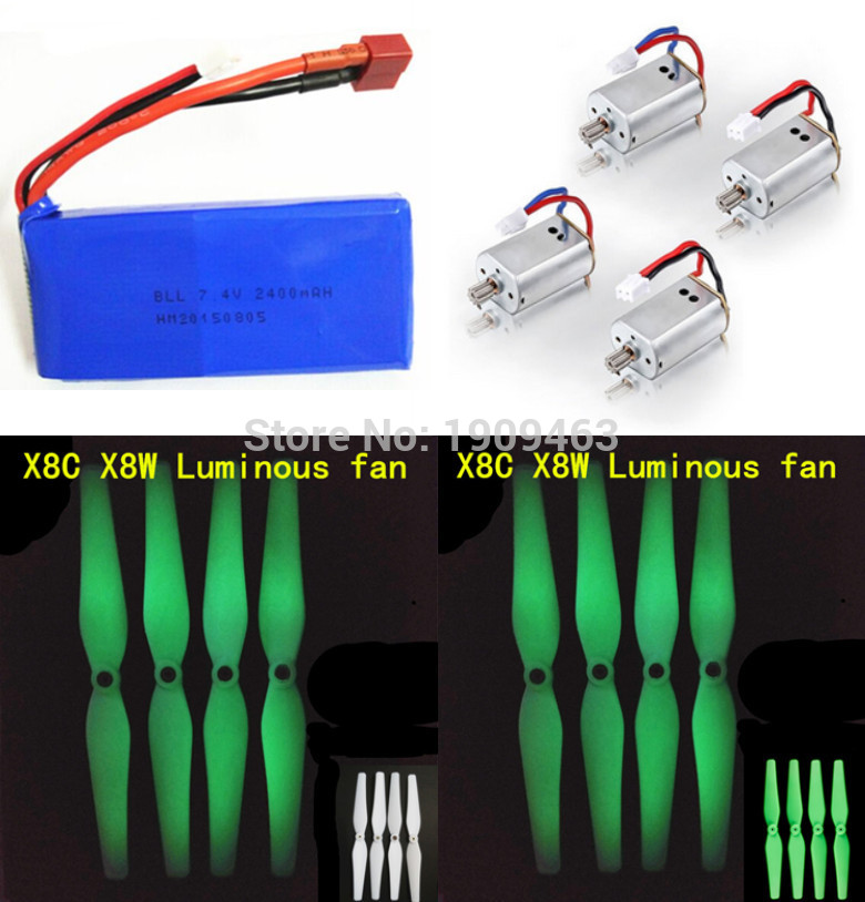 Luminous Propellers & Motors Battery Spare Parts for Syma X8 X8C X8W X8G RC Quadcopter Drone Nice Match