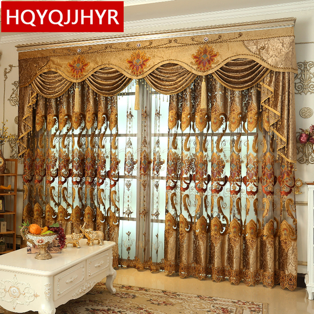 royal aristocratic high end custom embroidery curtains for living