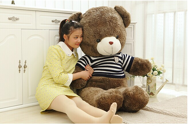 huge 140cm brown teddy bear plush toy stripes sweater bear hugging pillow, stuffed filling toy ,Christmas gift w3093 stripes sweater design prone husky largest 165cm gray husky dog plush toy sleeping pillow surprised christmas gift h907