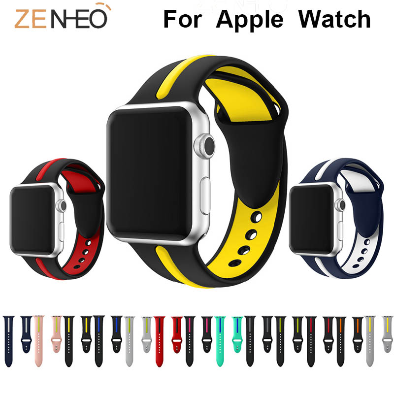 Silicone Band For Apple Watch Series 4/3/2/1 Two Tone Watch Band 42mm 38mm 44mm 40mm Replacement Bracelet Watch Straps Wristband