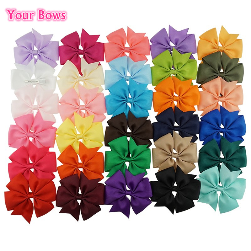 40pc 4 Inch Hair Clip Grosgrain 30color Hairpins Children 4.5cm Boutique Girls Accessories Hair Bows Pinzas Para El Cabello Girls' Clothing