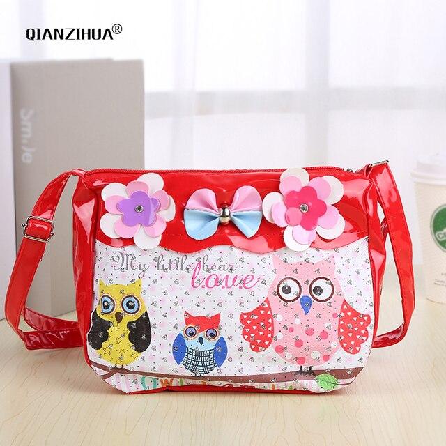 Cartoon Cute Kids Children Messenger Bags Owl Printing PU Satchel school  bags for kindergarten girls bow crossbody shoulder bags